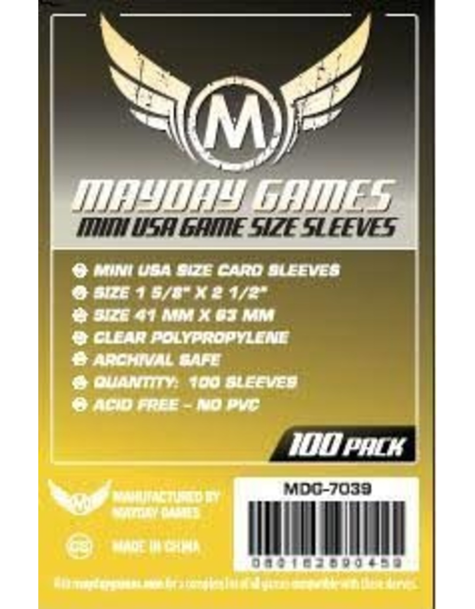 Mayday Games Mini USA Yellow 41mm x 63mm Sleeves (100)