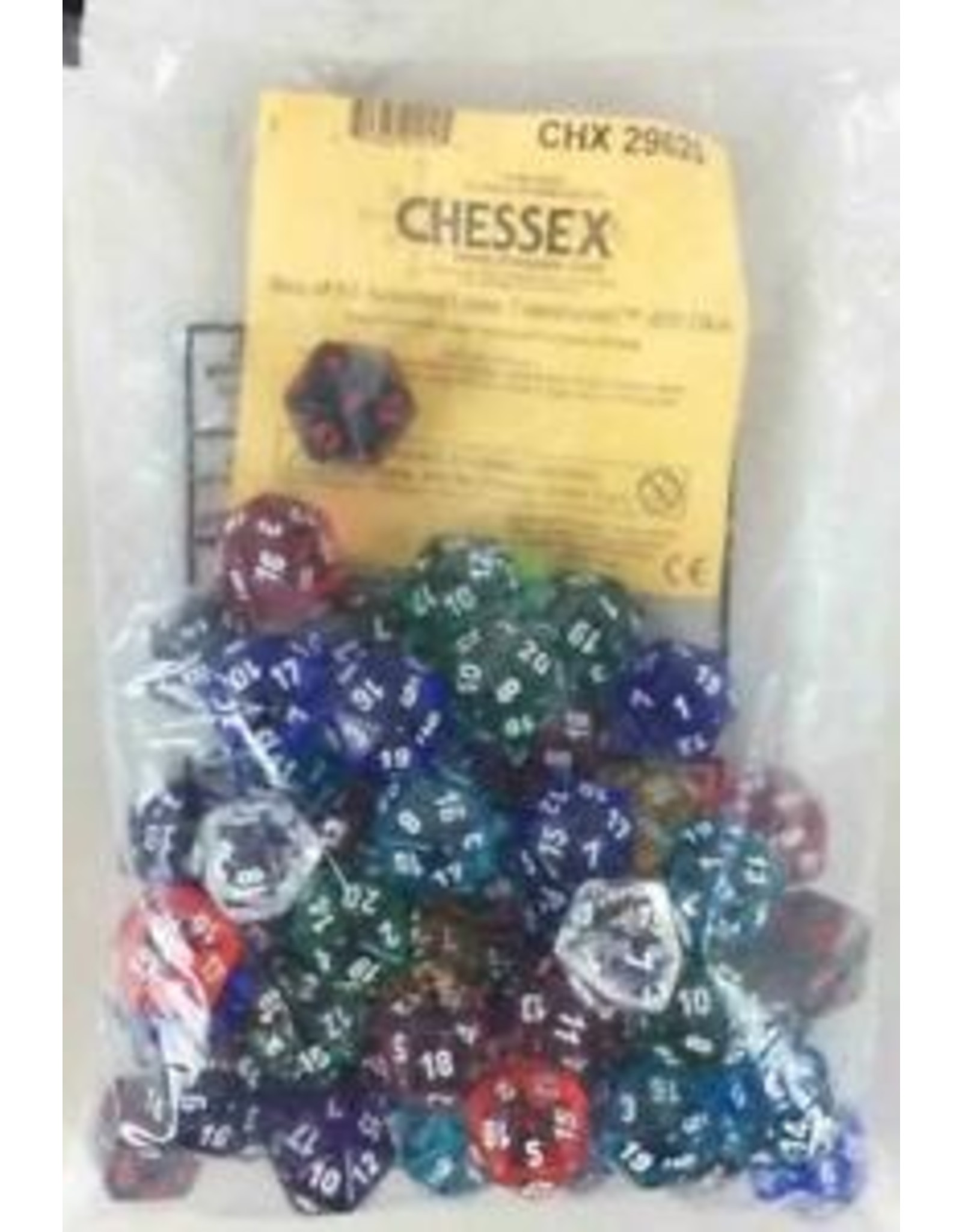 Chessex Translucent: Poly D20 Assorted Limited Edition Bag of Dice (50)