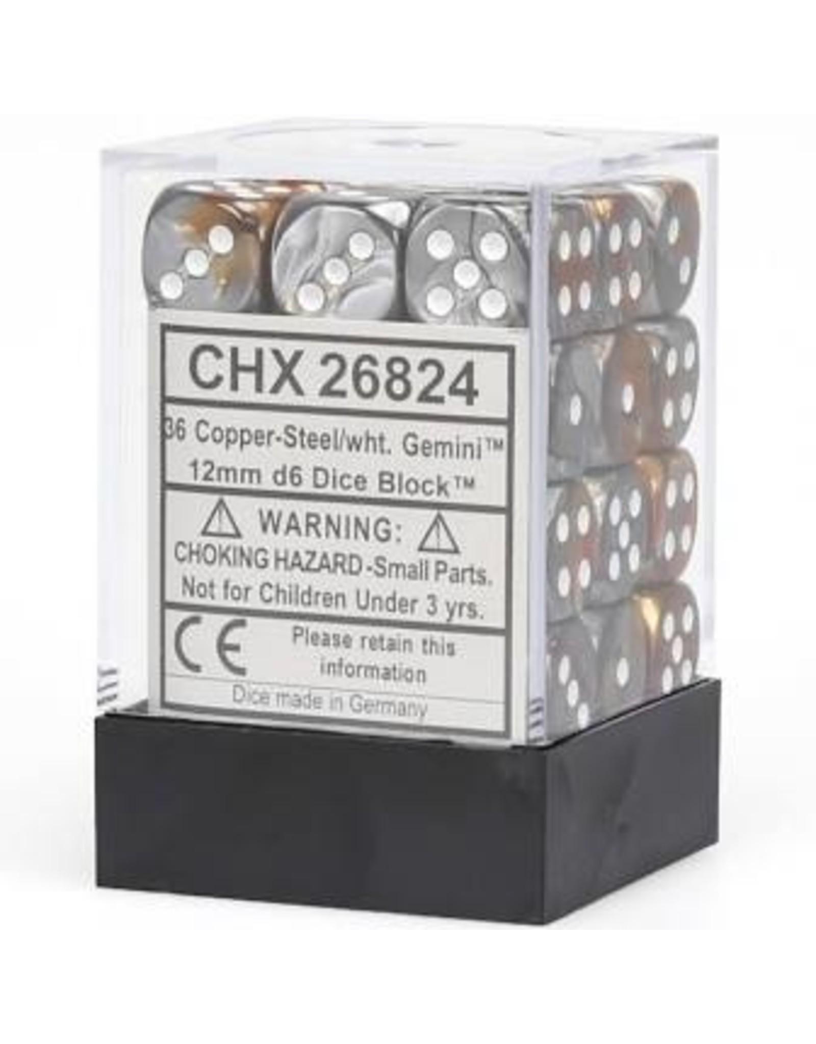 Chessex d6Cube12mmGemini CPSTwh (36)