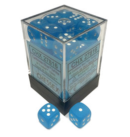 Chessex Frosted:12mm D6 Carib Blu/wht