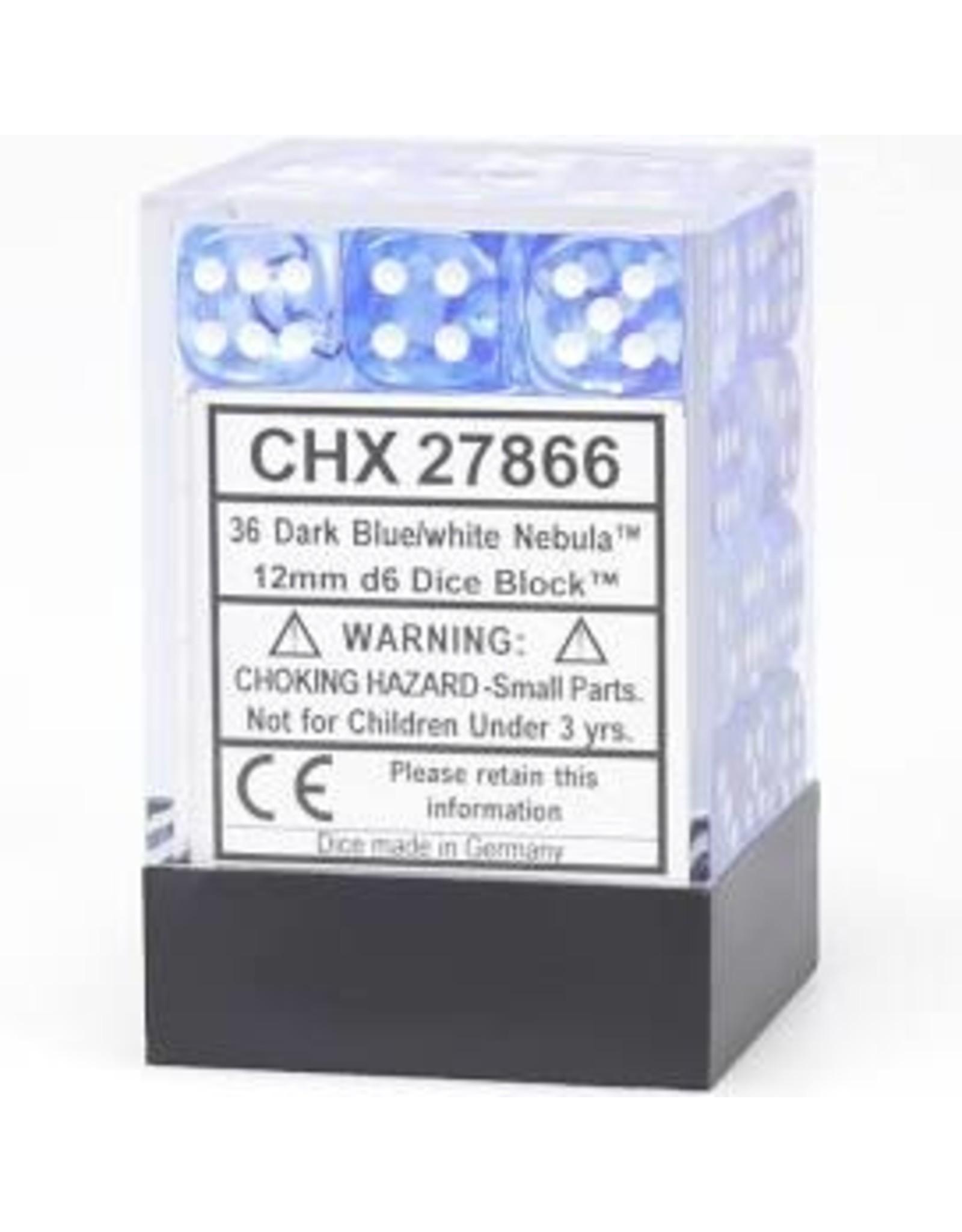 Chessex d6Cube12mmNB DKBUwh (36)