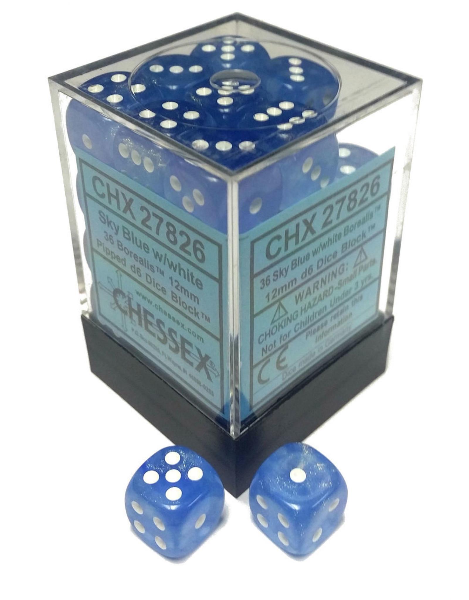 Chessex Borealis 12mm D6 Sky Blue/wht