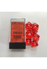 Chessex 7-Set Polyhedral Translucent Orange/White Set