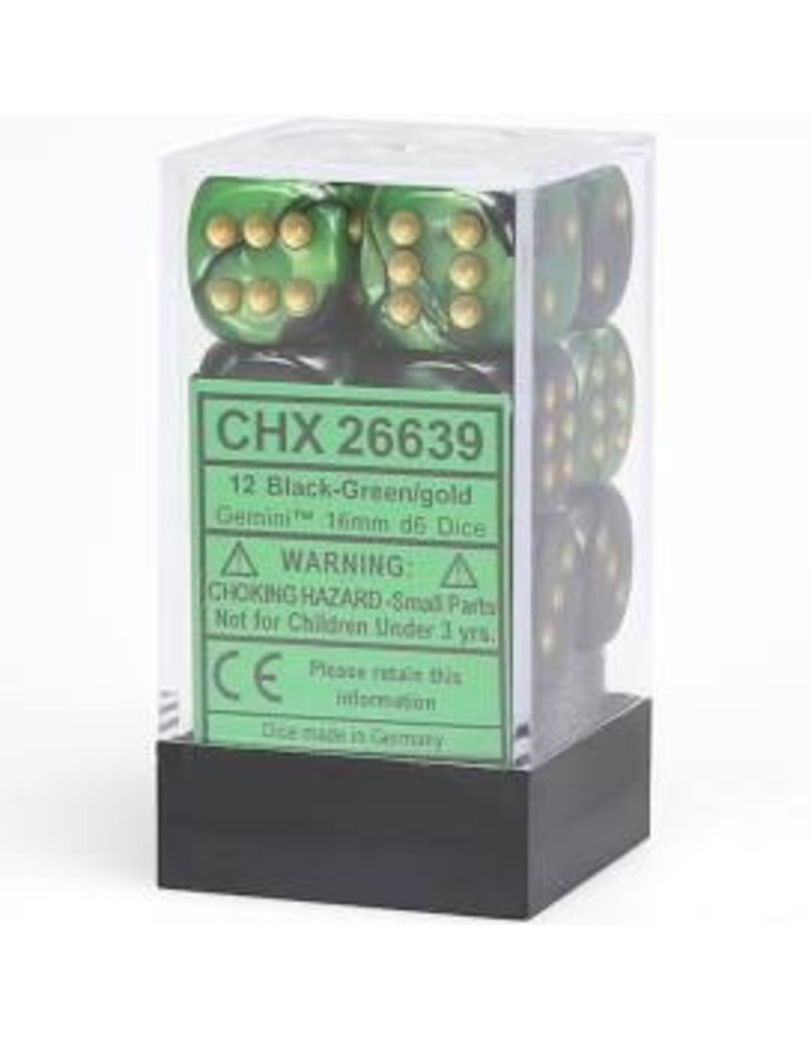 Chessex d6 Cube 16mm Gemini #4TR Black-Green-Gold (12)