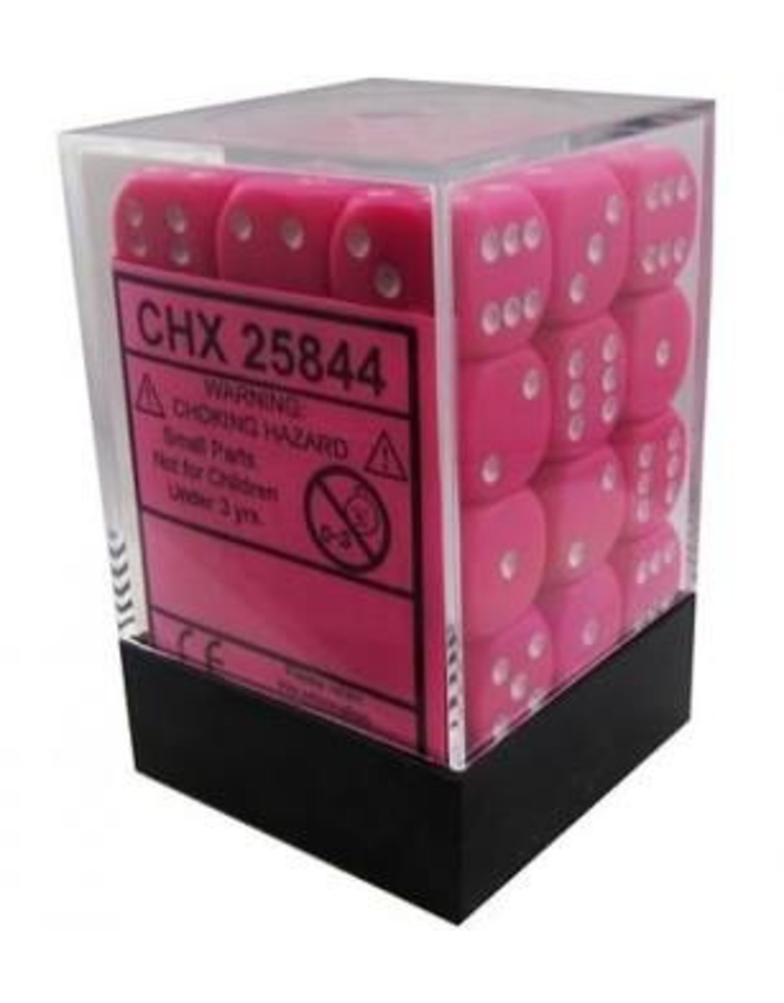 Chessex d6-set 12mm OP Pink-White (36)