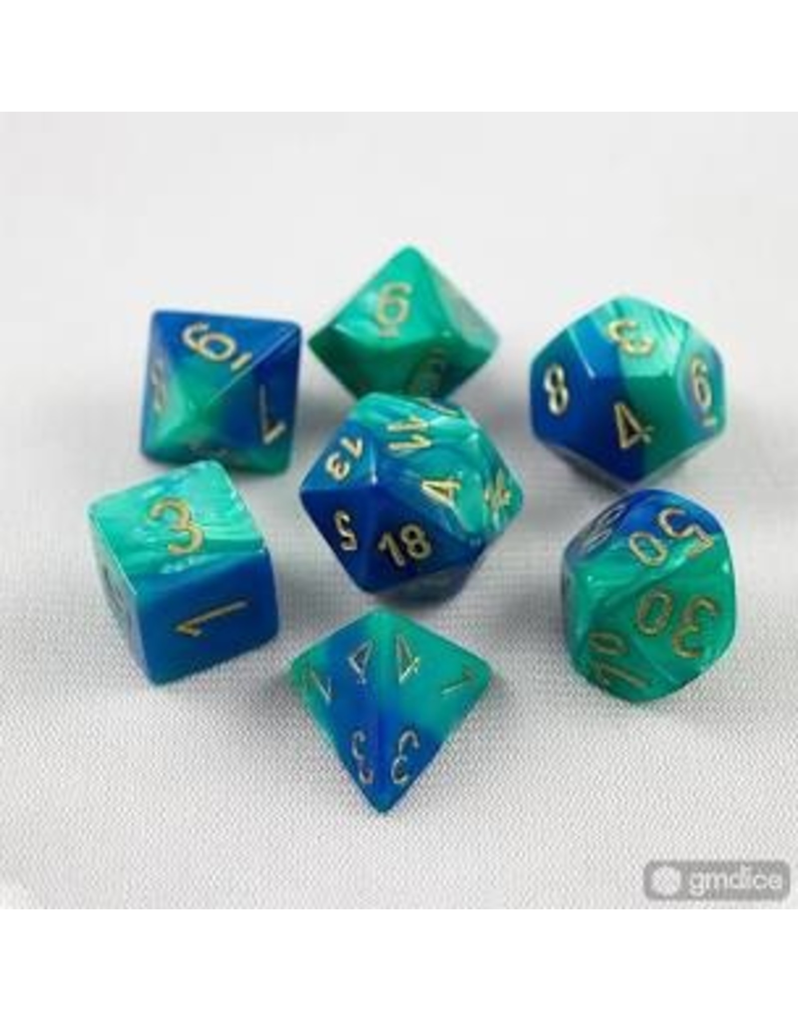 Chessex 7-Set Polyhedral CubeGemini#7 Blue Teal Gold
