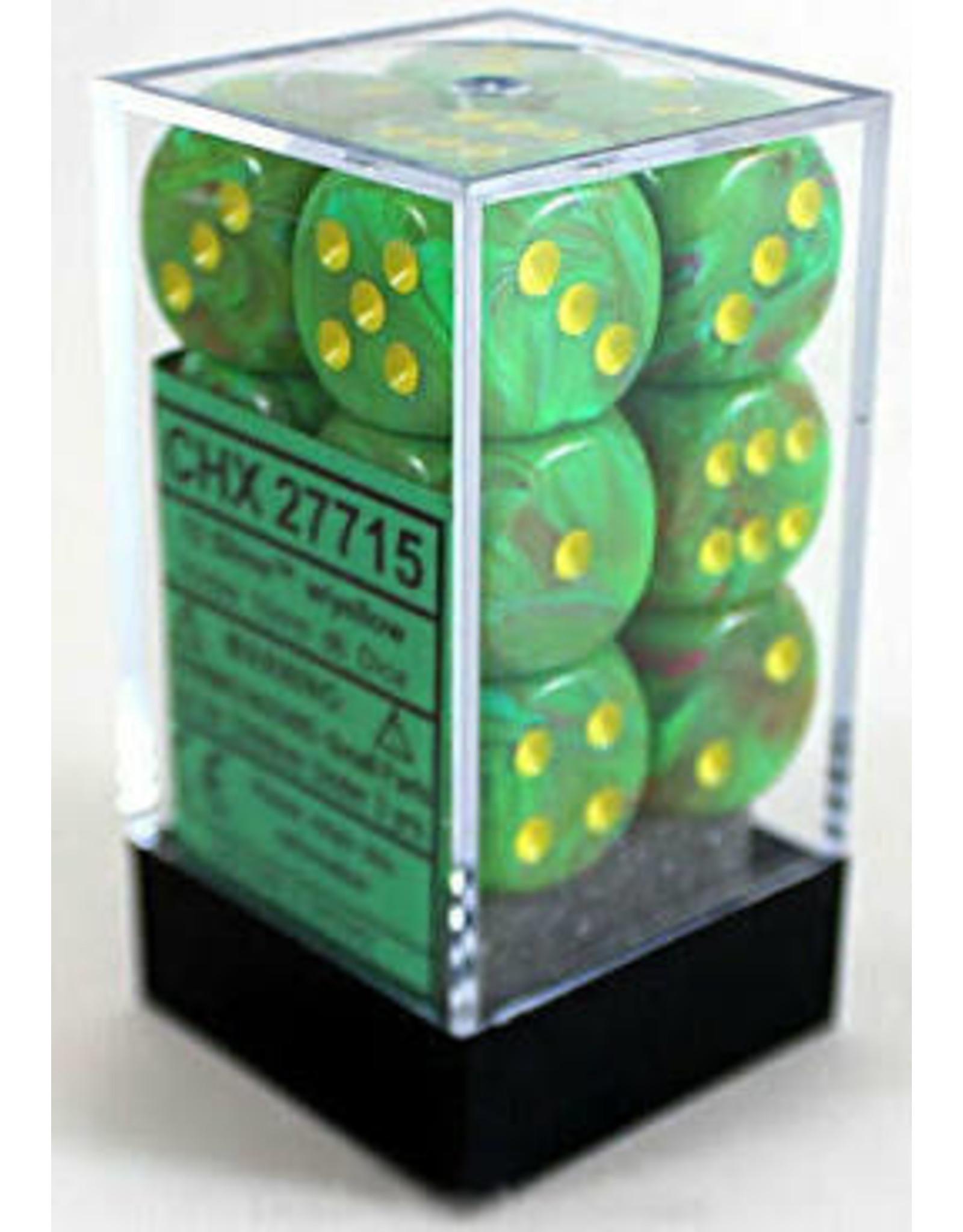 Chessex d6Cube16mm Vortex Slime/ye (12)