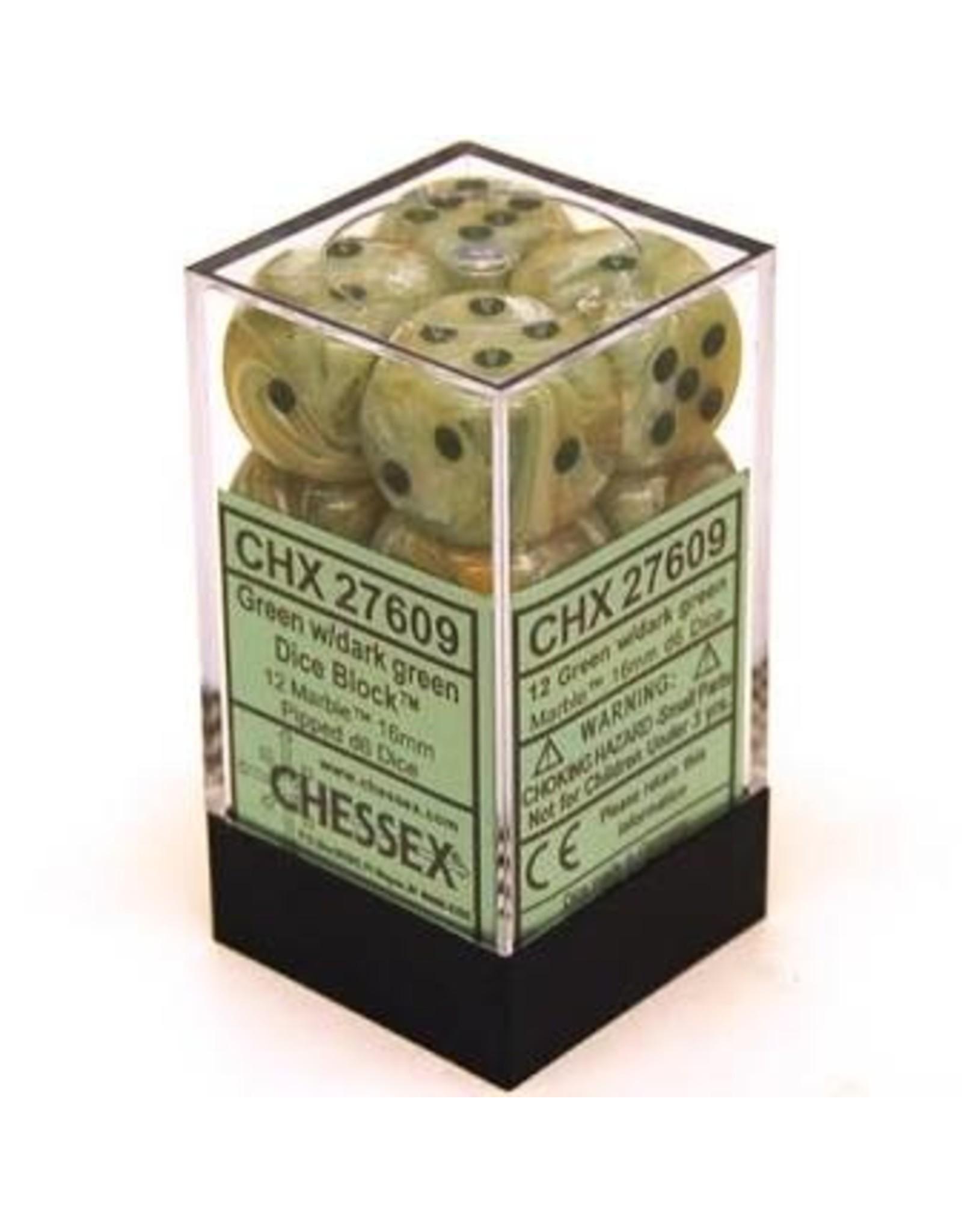 Chessex D6Cube16mmMarble GNdkgn (12)