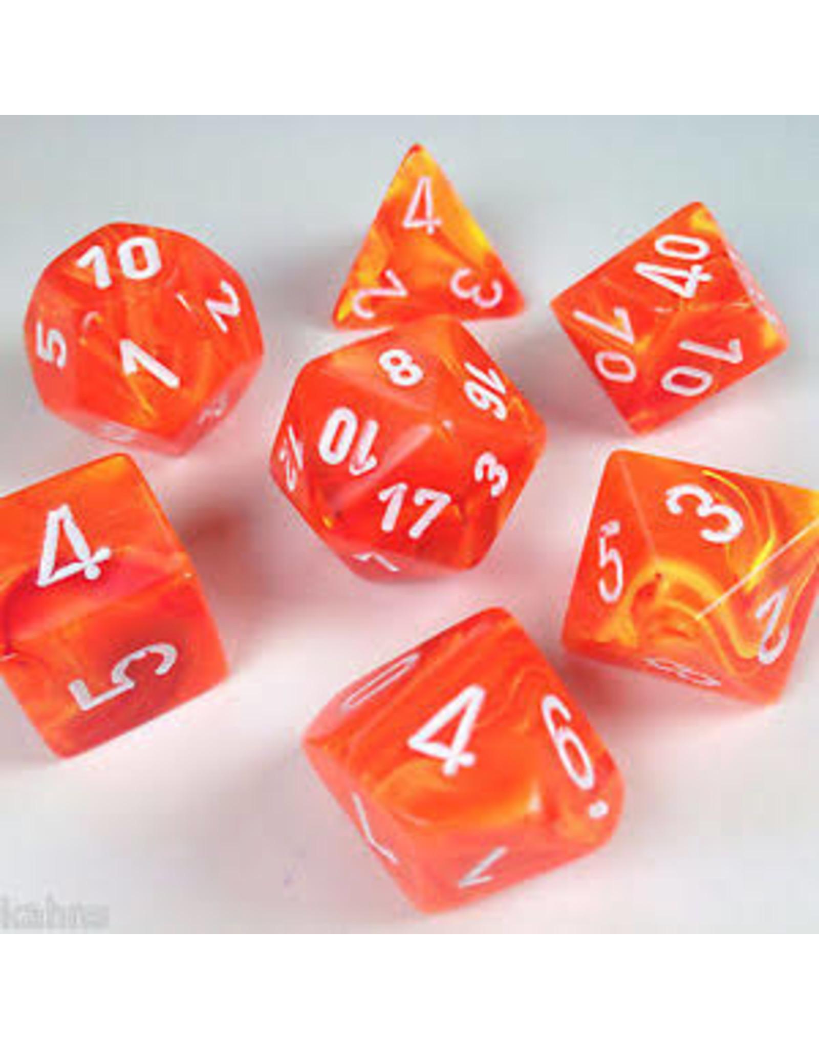 Chessex 7-Set Polyhedral Cube Vortex Solar/white