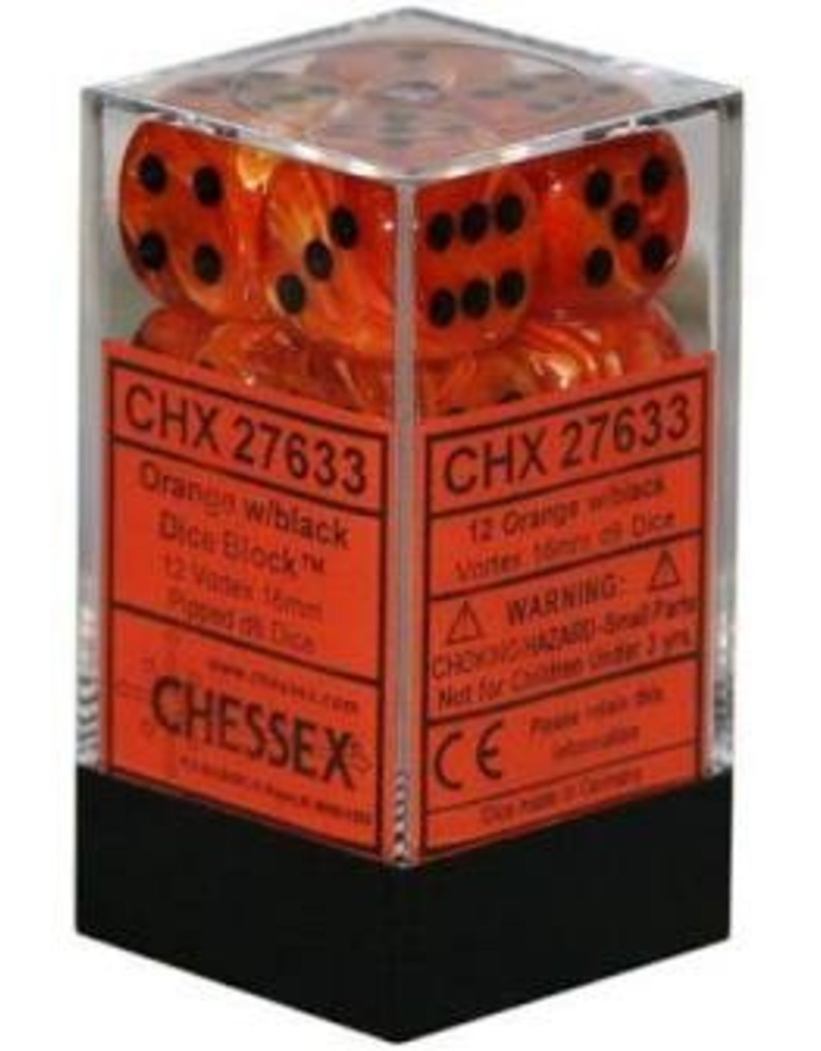 Chessex Vortex Dice Orange/Black D6