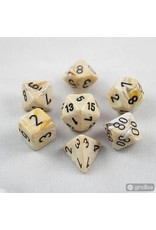 Chessex 7-Set Polyhedral Marble Ivory /black