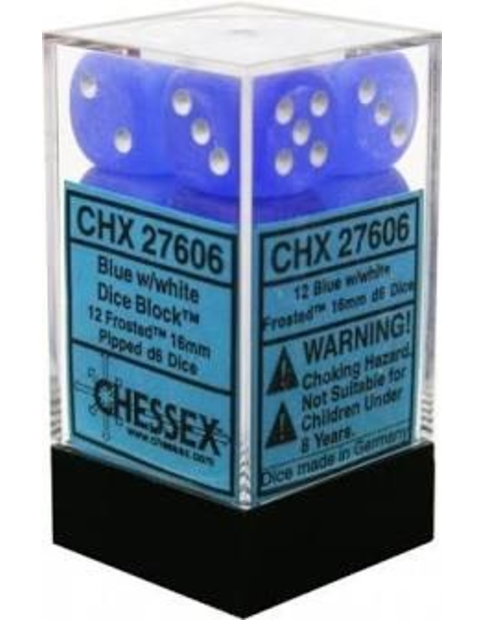 Chessex Frosted Blue/White D6