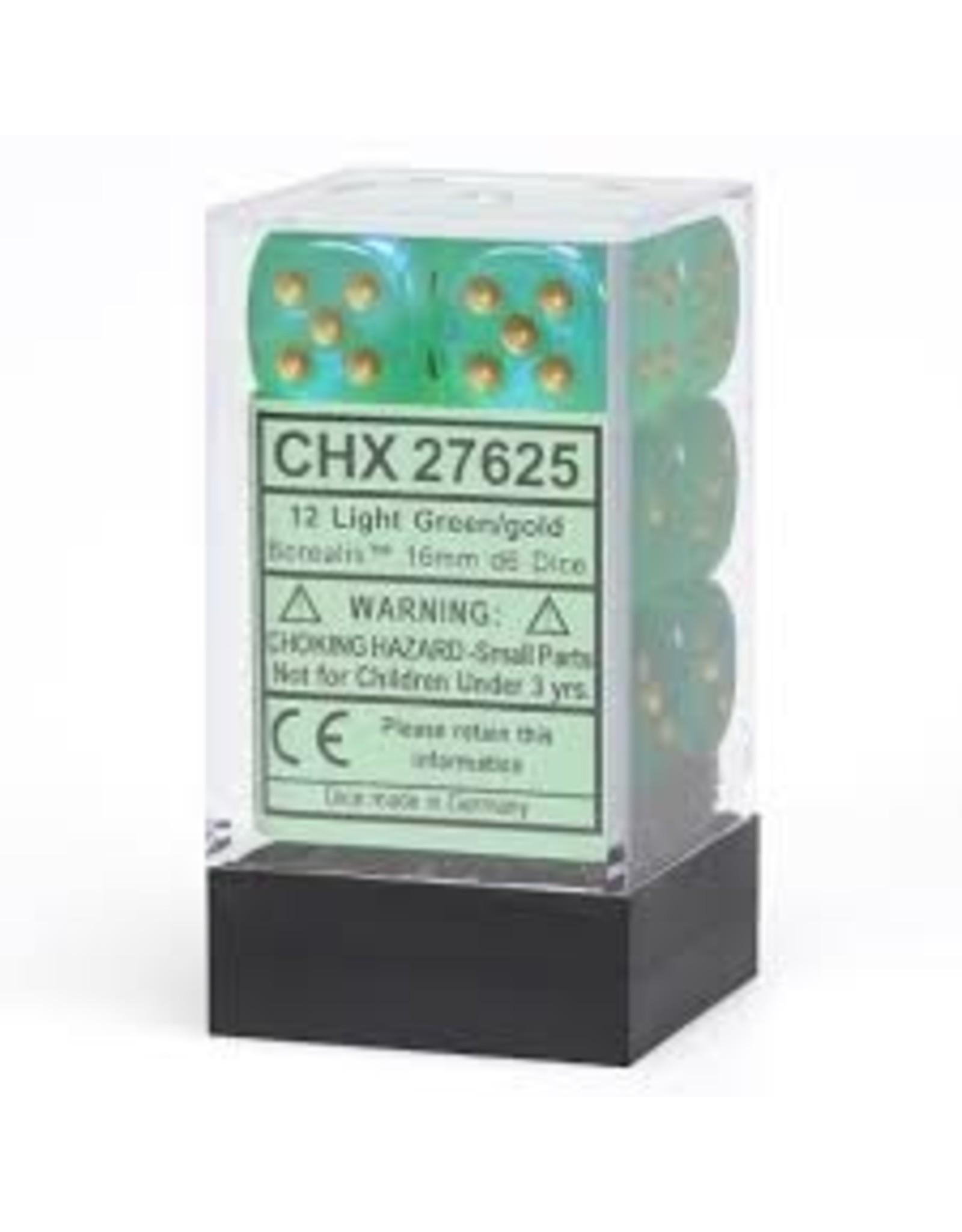 Chessex d6Cube16mmBOR#2 LTGRgd (12)