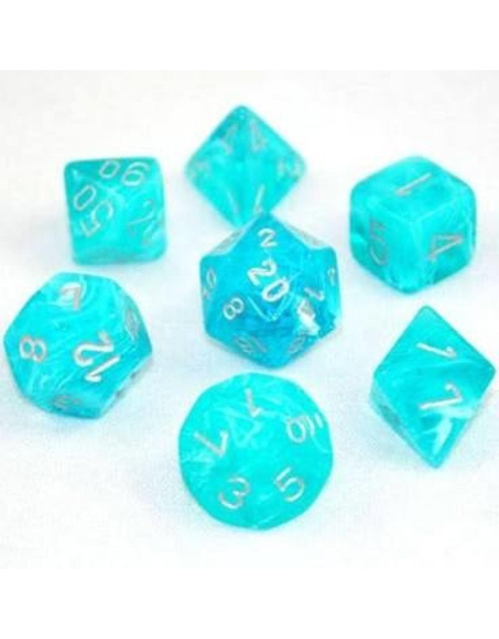 Chessex 7-Set Polyhedral Cirrus Polyhedral Set, Aqua/Sl