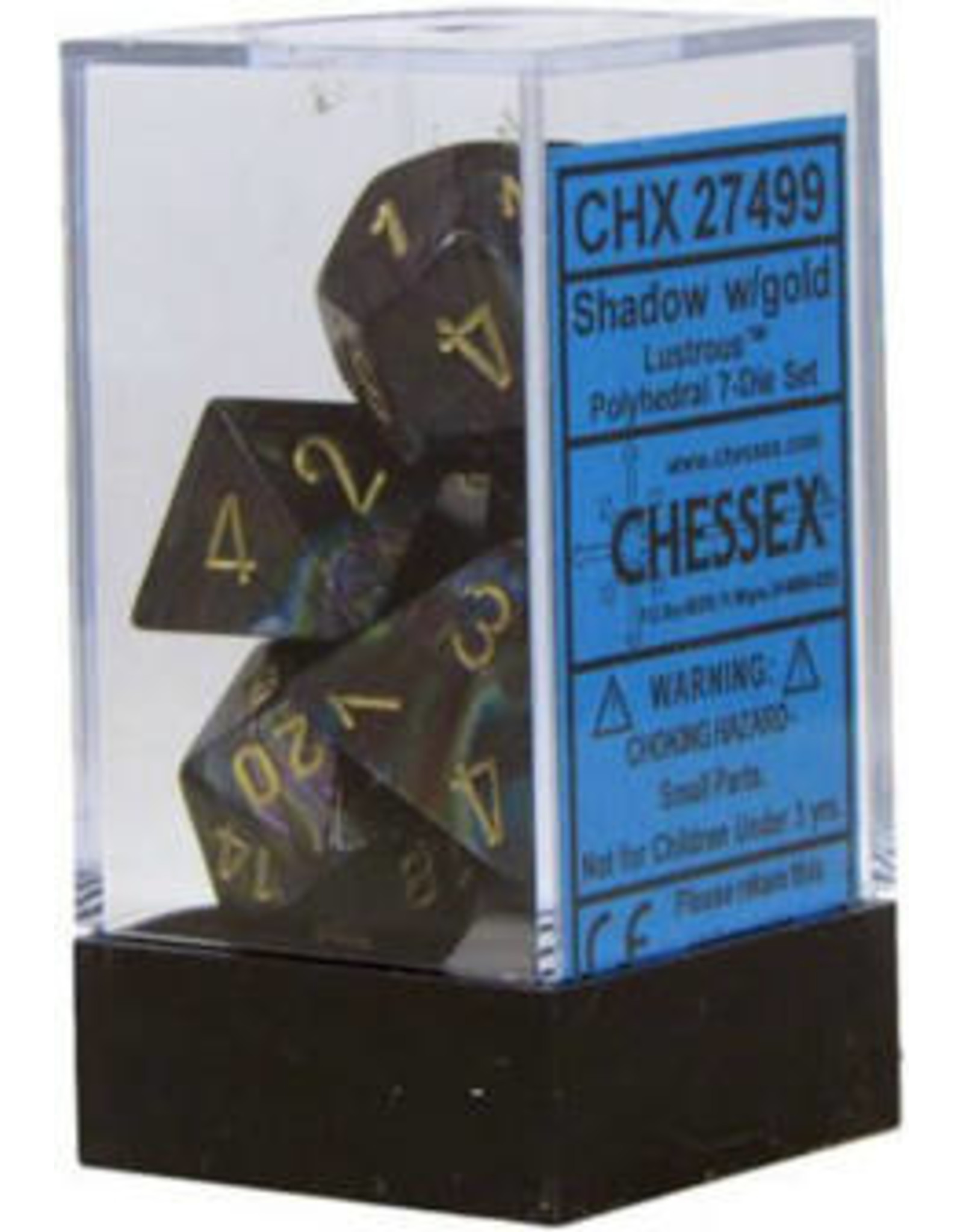 Chessex 7-Set Polyhedral  Lustrous Shadow/Gold