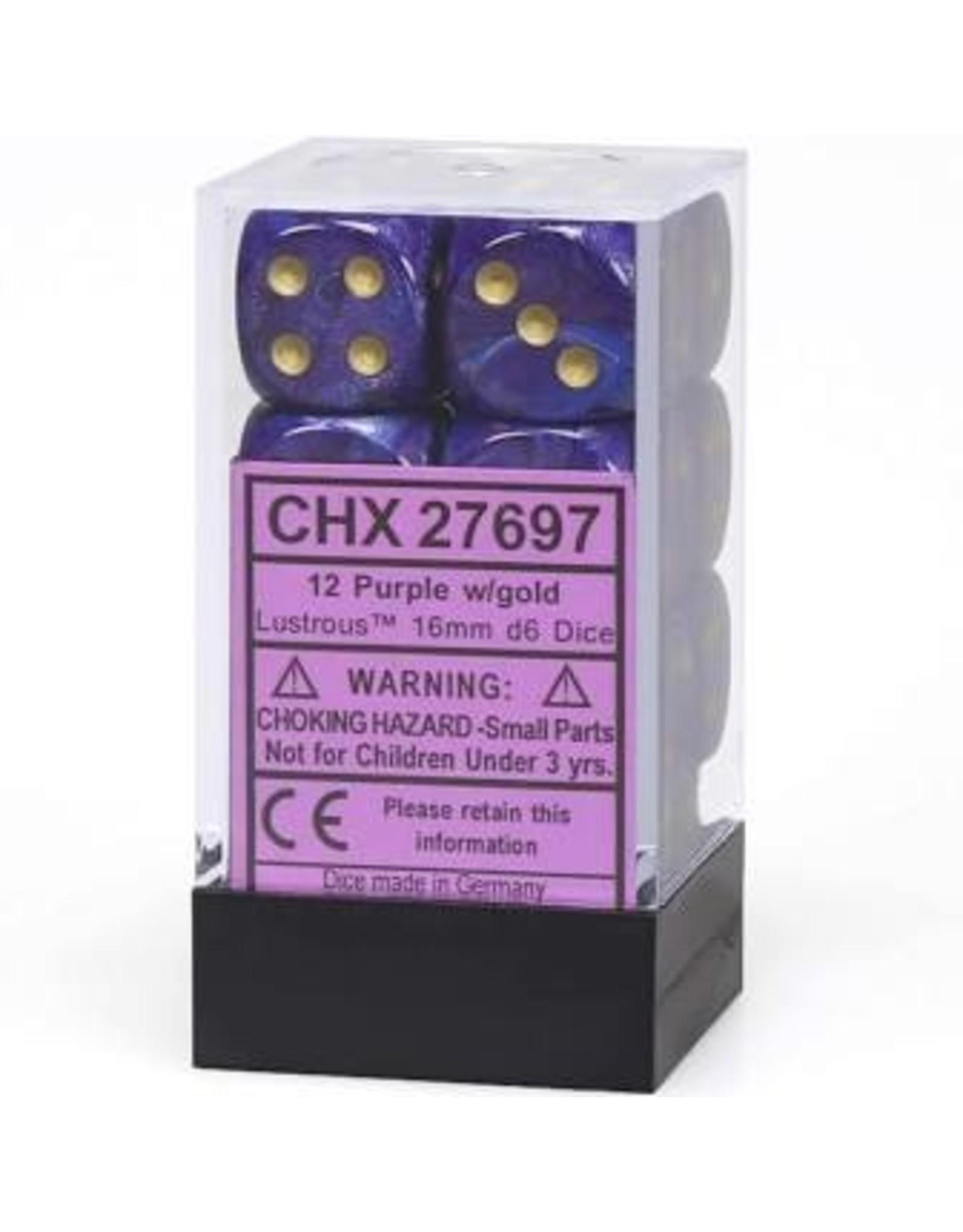 Dice 16mm d6 Lustrous Purple/Gold
