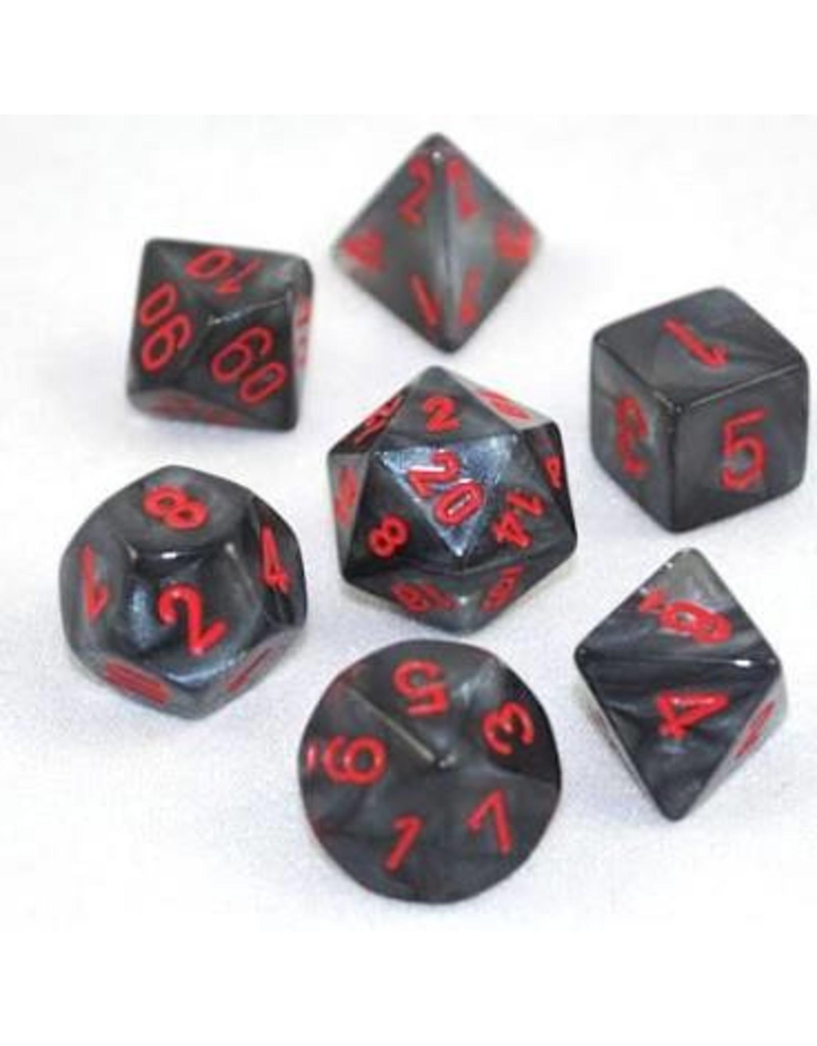 Chessex 7-Set Polyhedral Velvet: Black/Red