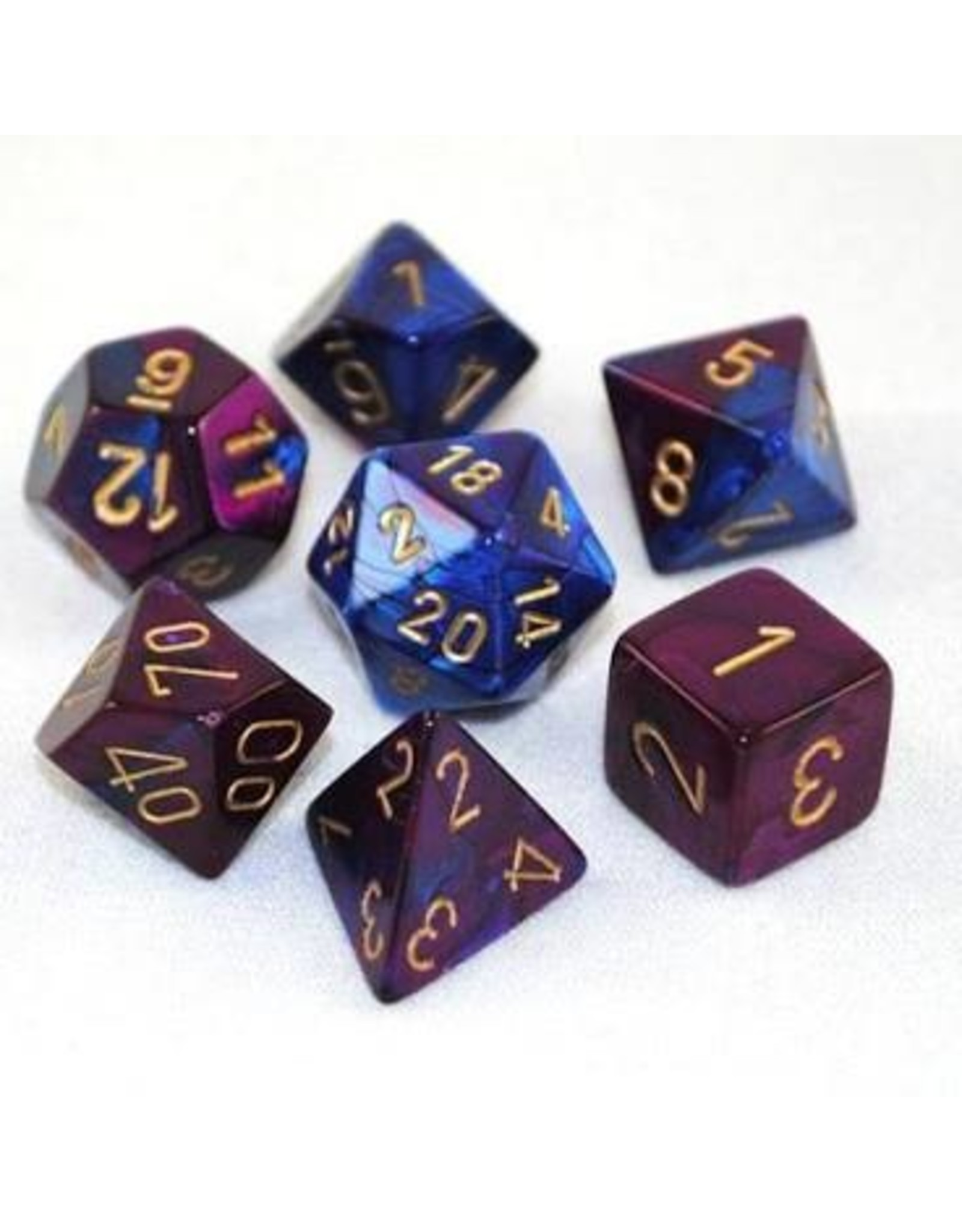 Chessex 7-Set Polyhedral Gemin2 Blue/Purple w/Gold