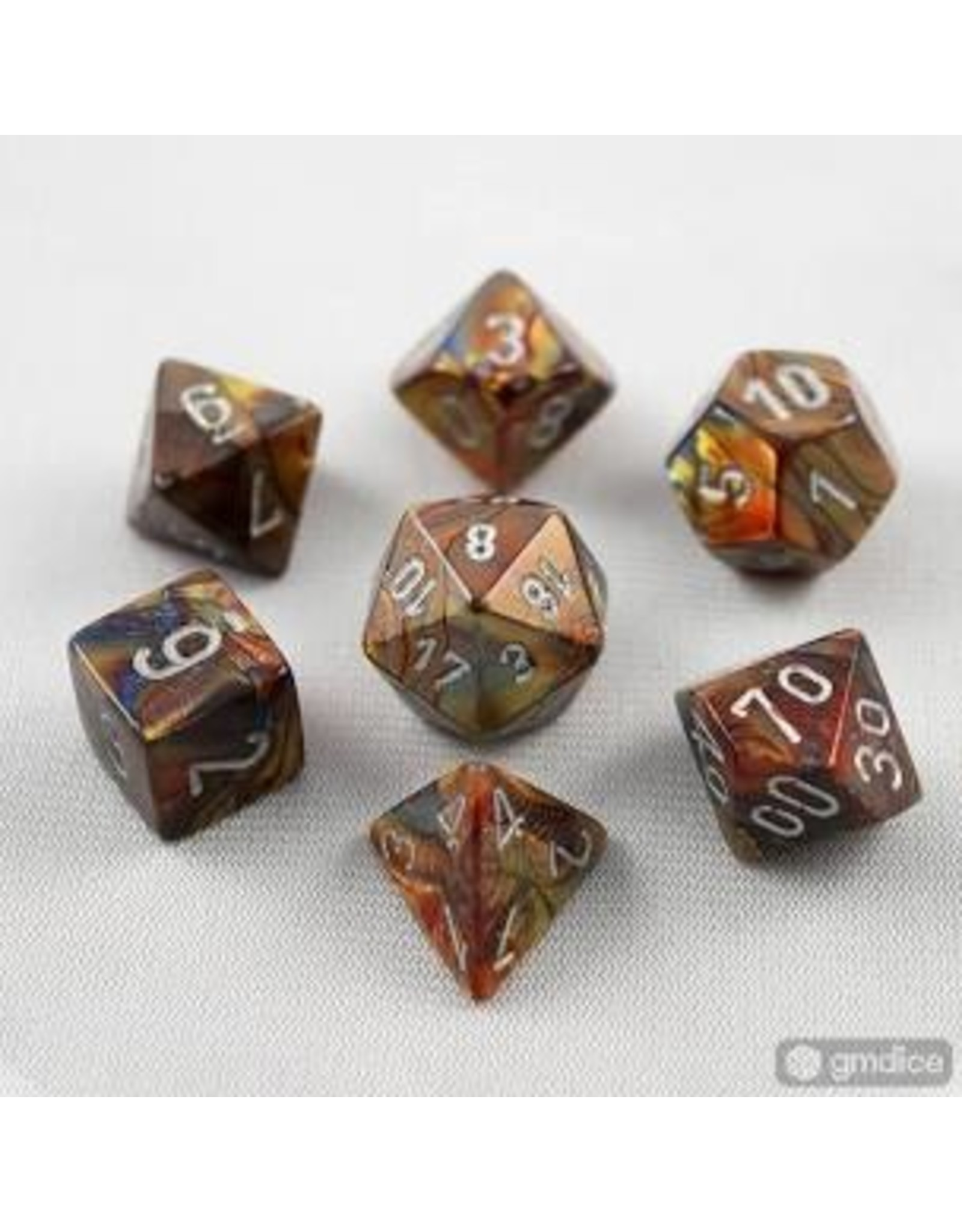 Chessex 7-Set Polyhedral 7-Die  Lustrous Gold/Silver