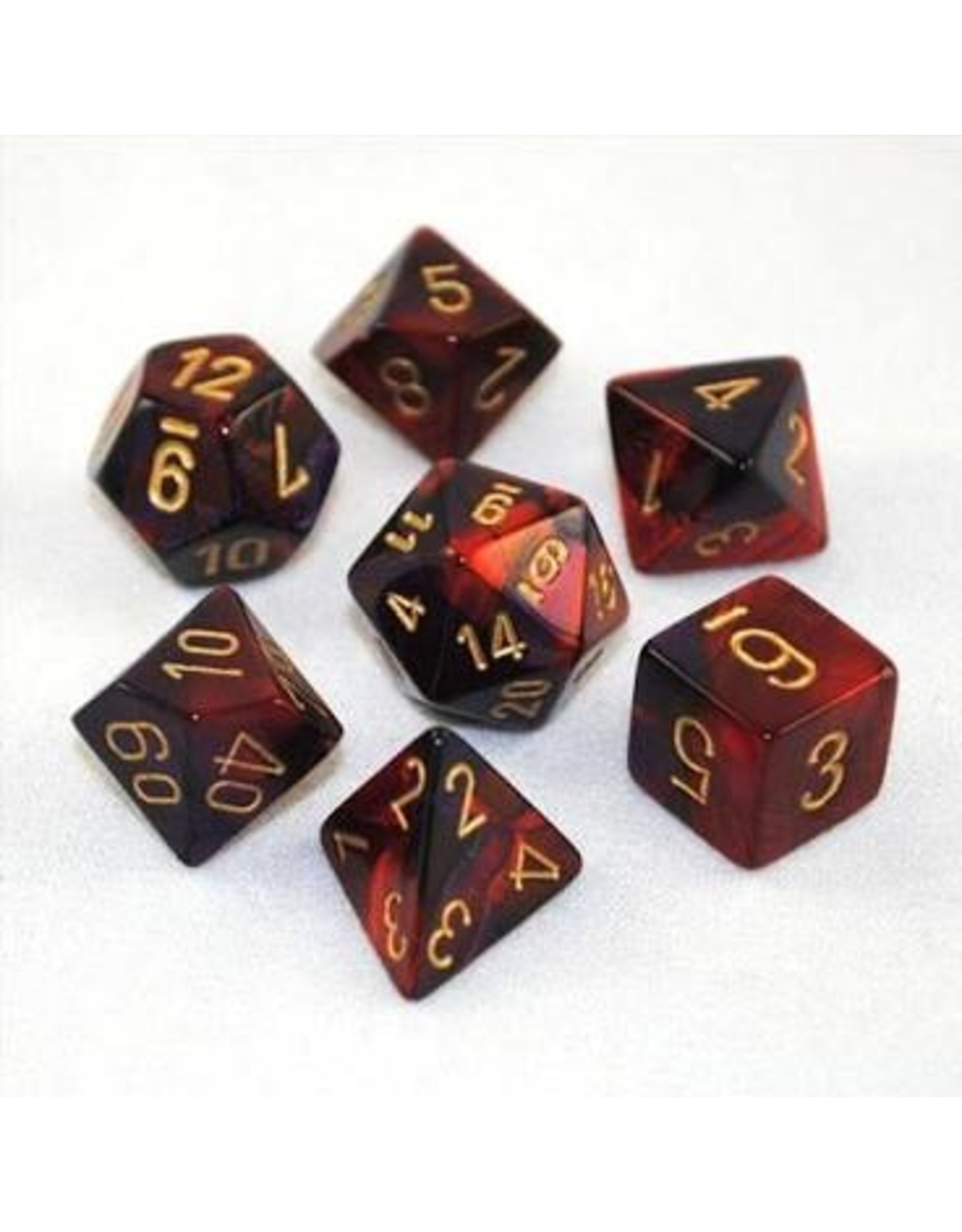 Chessex 7-Set Polyhedral CubeGemini Purple Red Gold