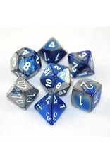 Chessex 7-Set Polyhedral CubeGemini Blue-Silver-White