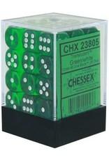 Chessex d6Cube12mmTR GRwh (36)