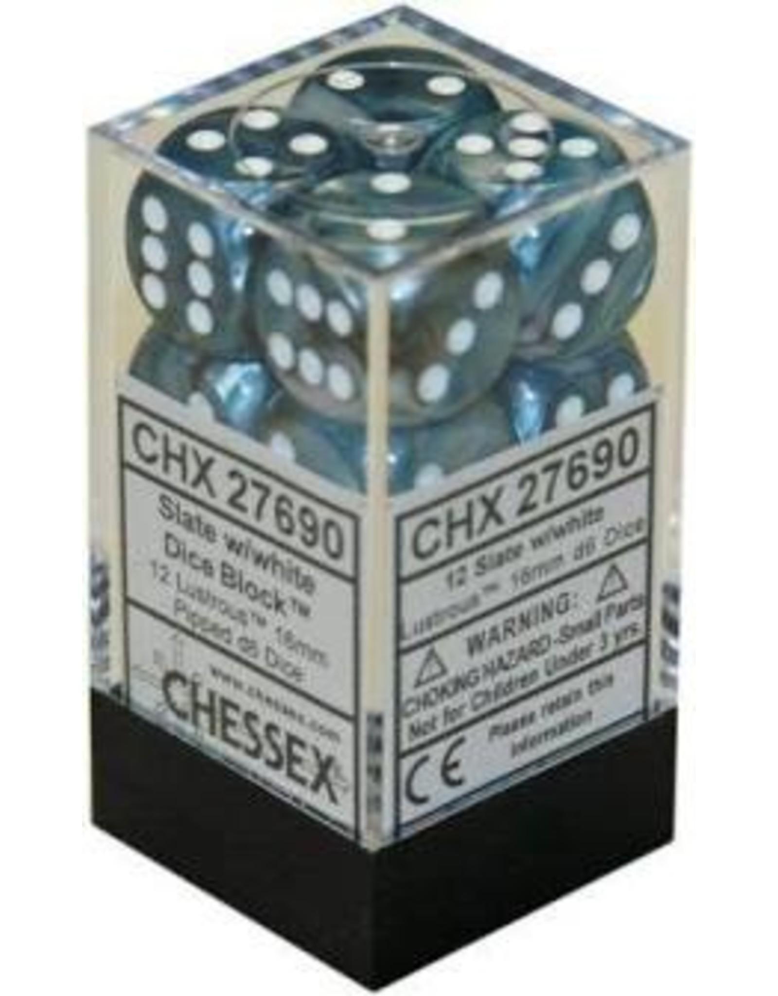 Chessex Lustrous 16mm D6 Slate/white