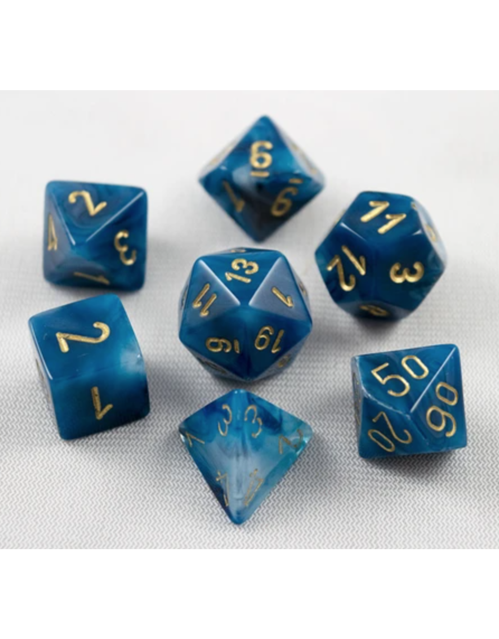 Chessex 7-Set Polyhedral Phantom Polyhedral Teal/gold