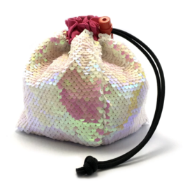 Dice Mermaid Reversible Sequin Dice Bag - Opalescent Pink/White