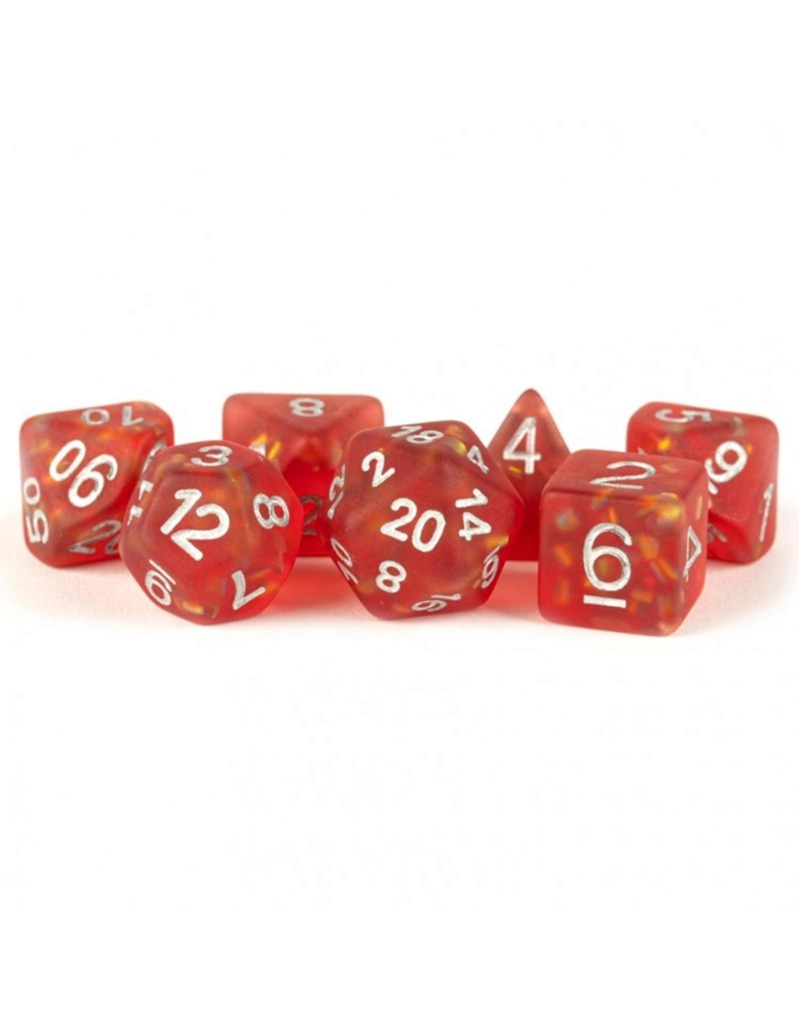 Dice 7-Set: Icy Opal Red Silver