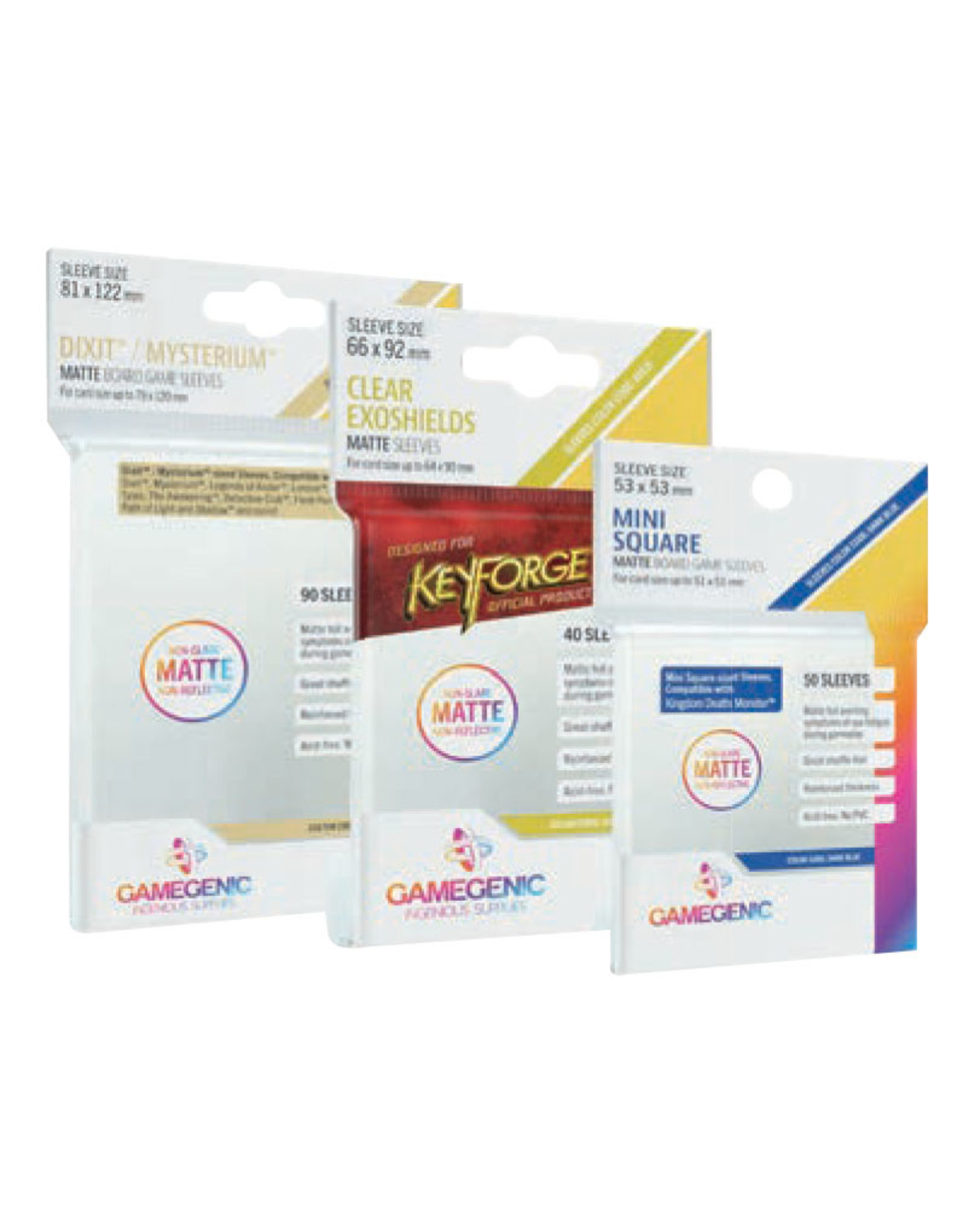 Asmodee Matte Board Game Sleeves: KeyForge Exoshields Clear 66mm x 92mm (40) (Gold)