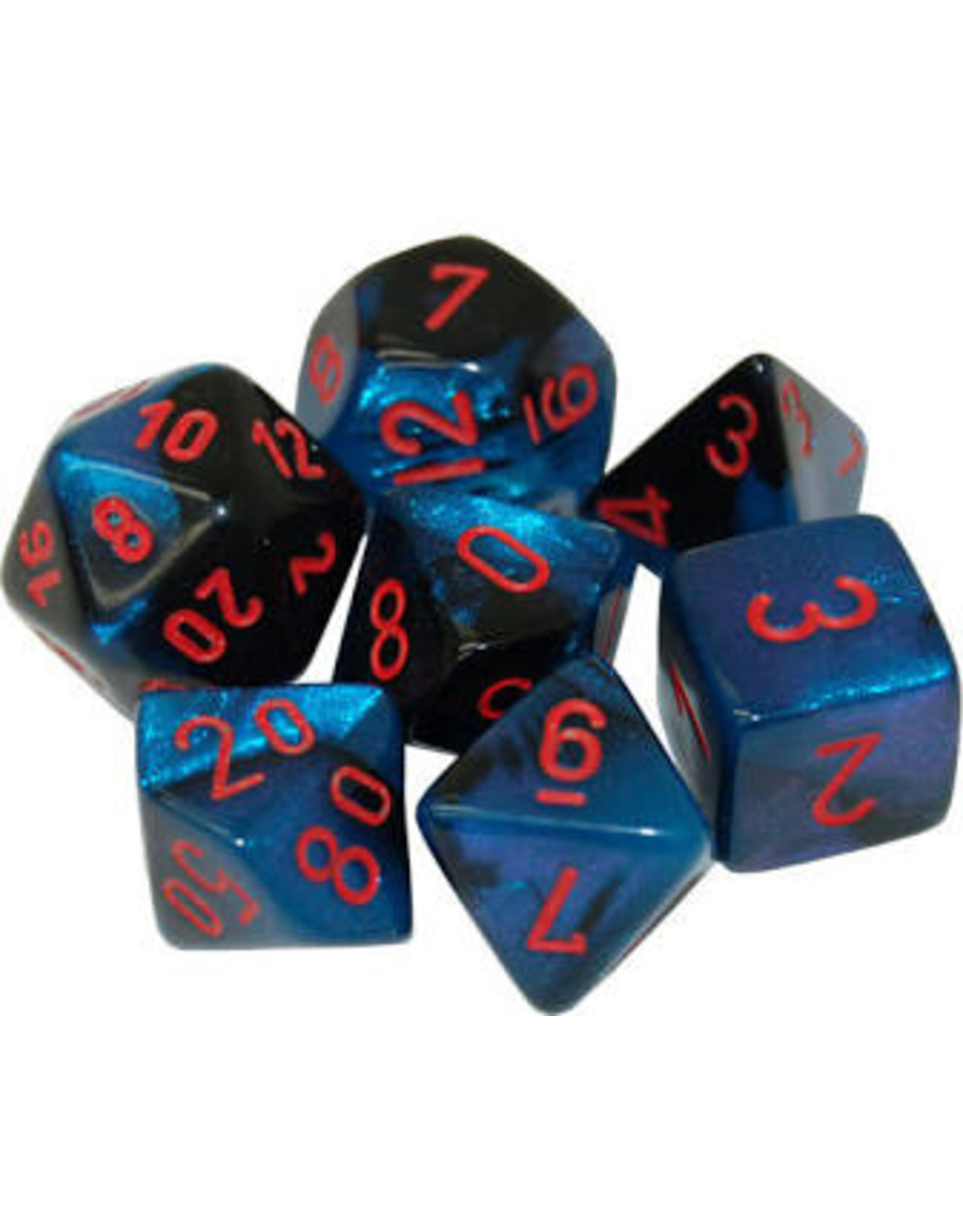 Chessex 7-Set Polyhedral CubeGemini#7 Black Starlight red
