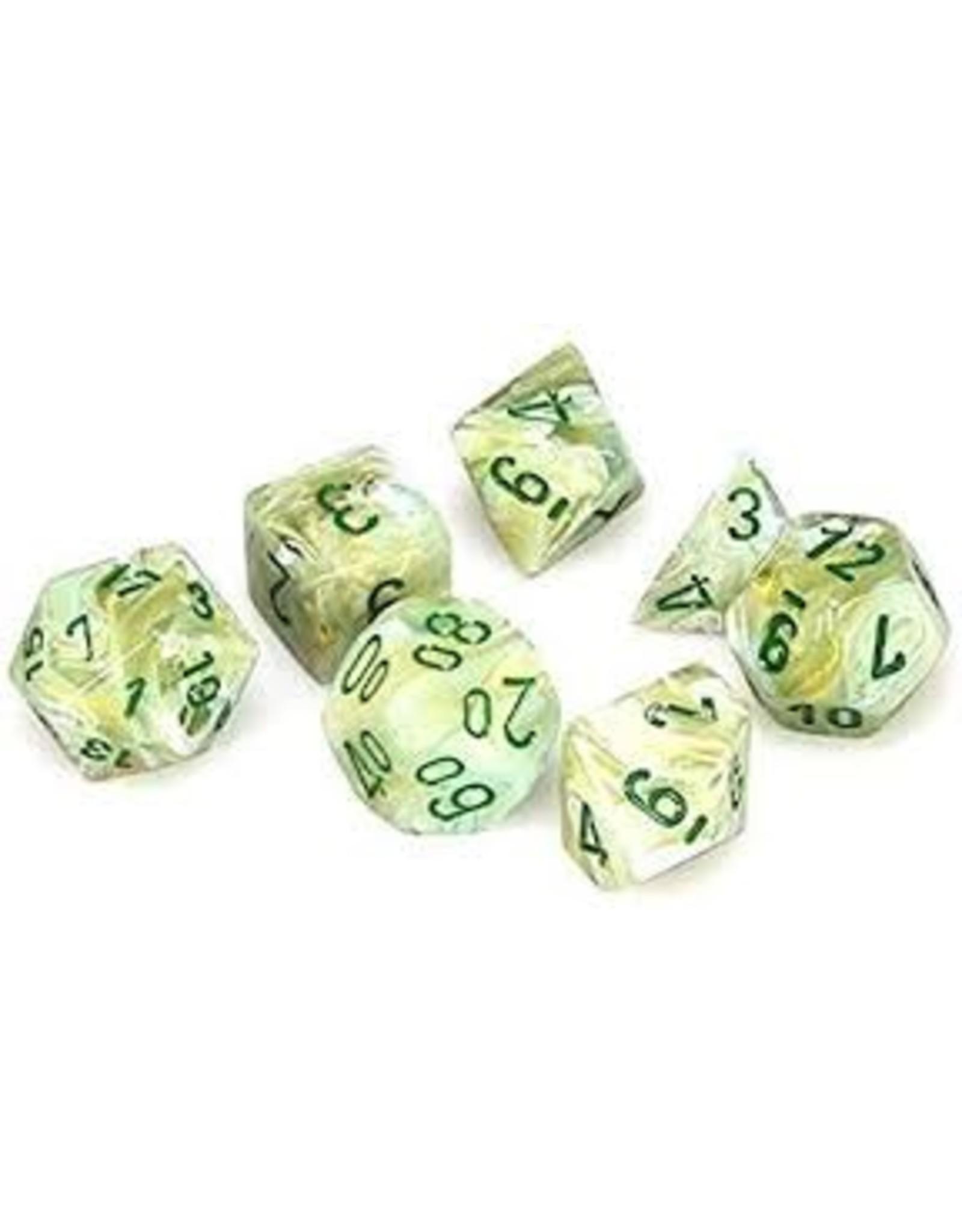 Chessex 7-Set Polyhedral  Marble Green/Dark Green