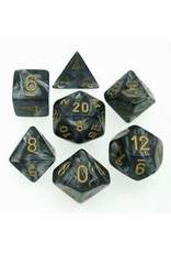 Chessex 7-Set Polyhedral  Lustrous Black/Gold