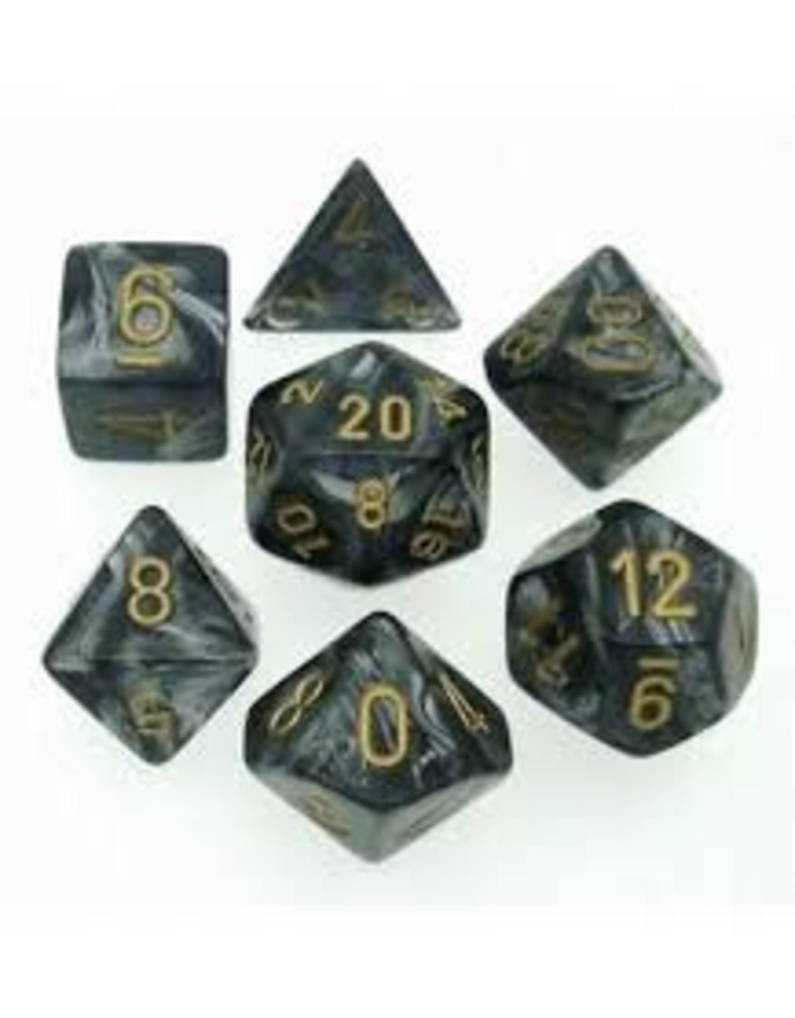 Dice 7-Die  Lustrous Black/Gold