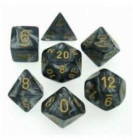 Chessex 7-Die  Lustrous Black/Gold