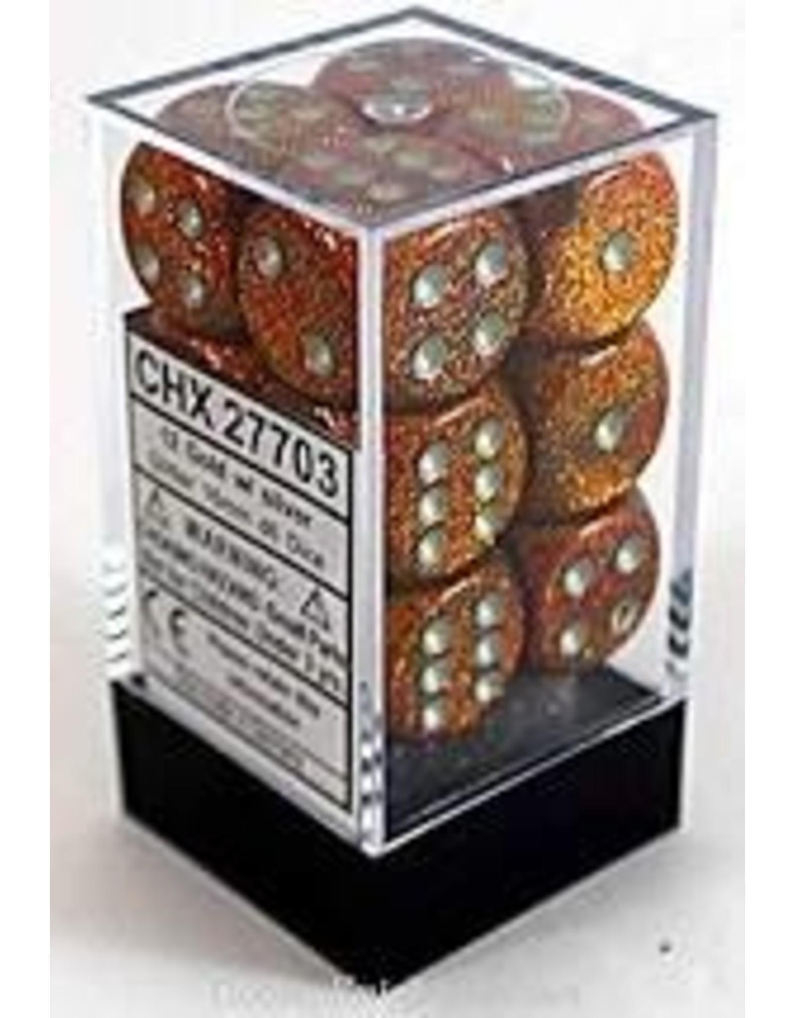 Chessex d6Cube16mm Glitter Polyhedral GDsv (12)