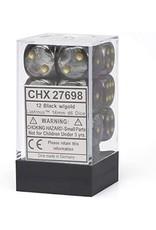 Chessex 16mm d6 Lustrous Black/Gold
