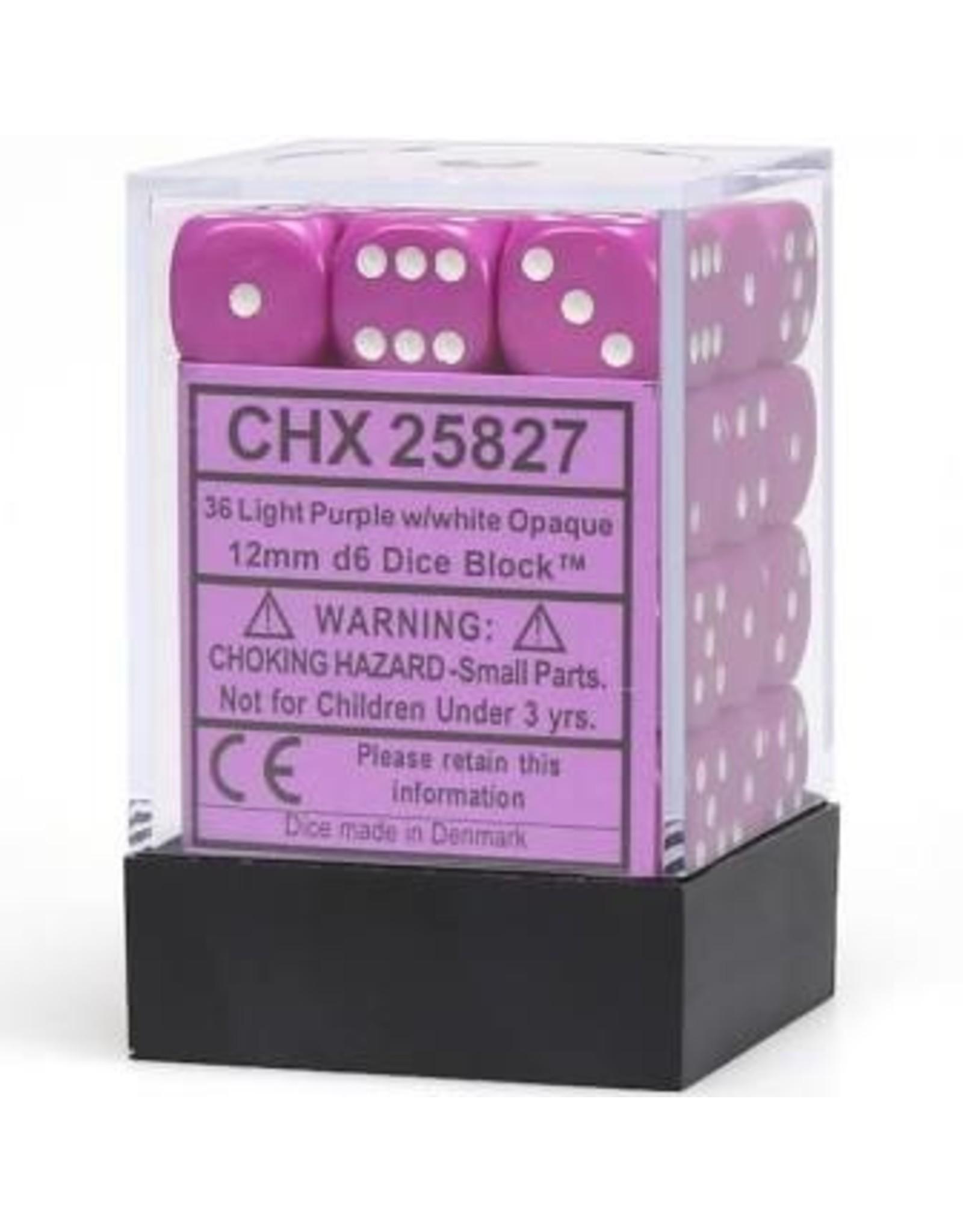 Chessex Light Purple w/white 12mm d6 (36)