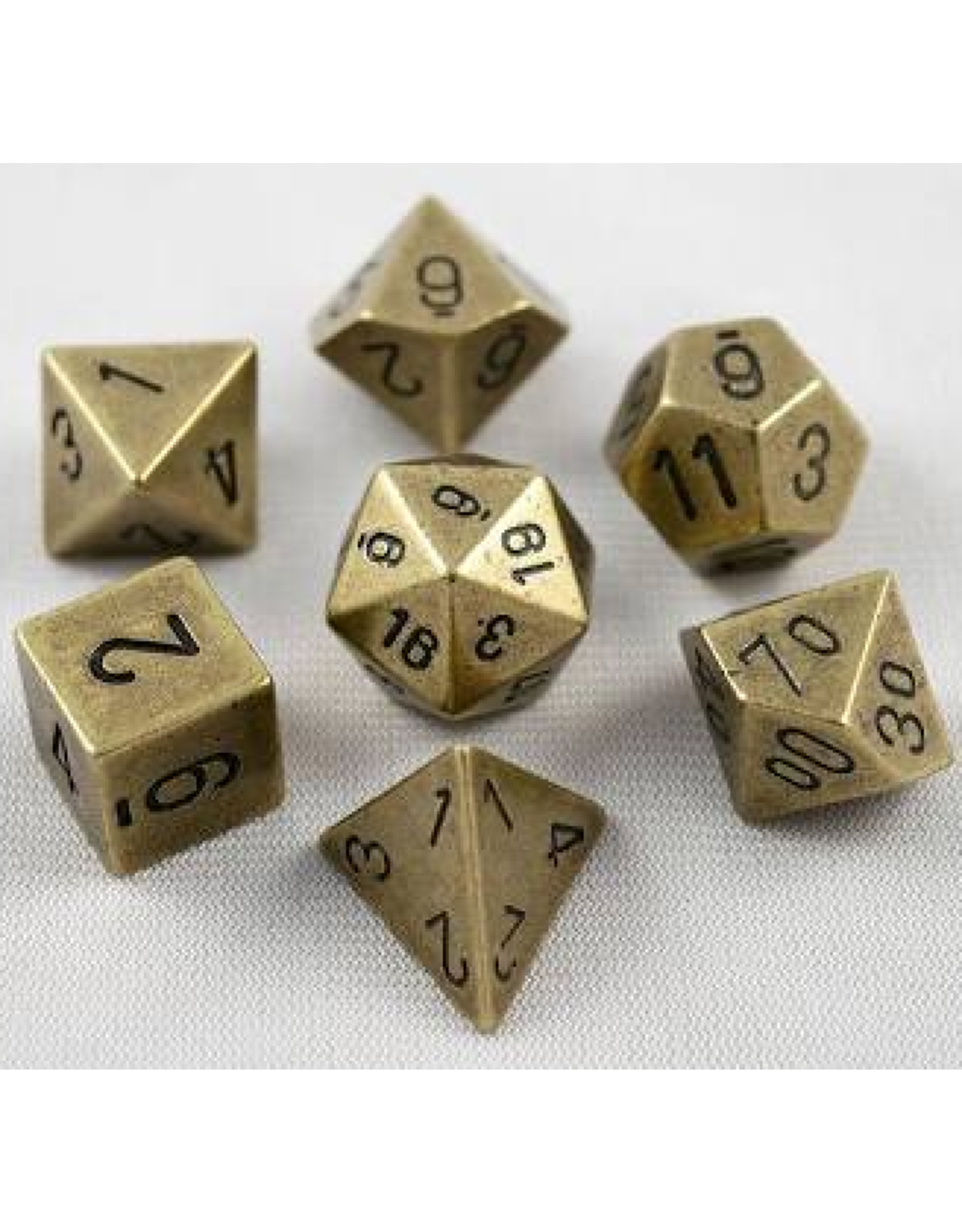Chessex 7-Set Polyhedral metal: Old Brass
