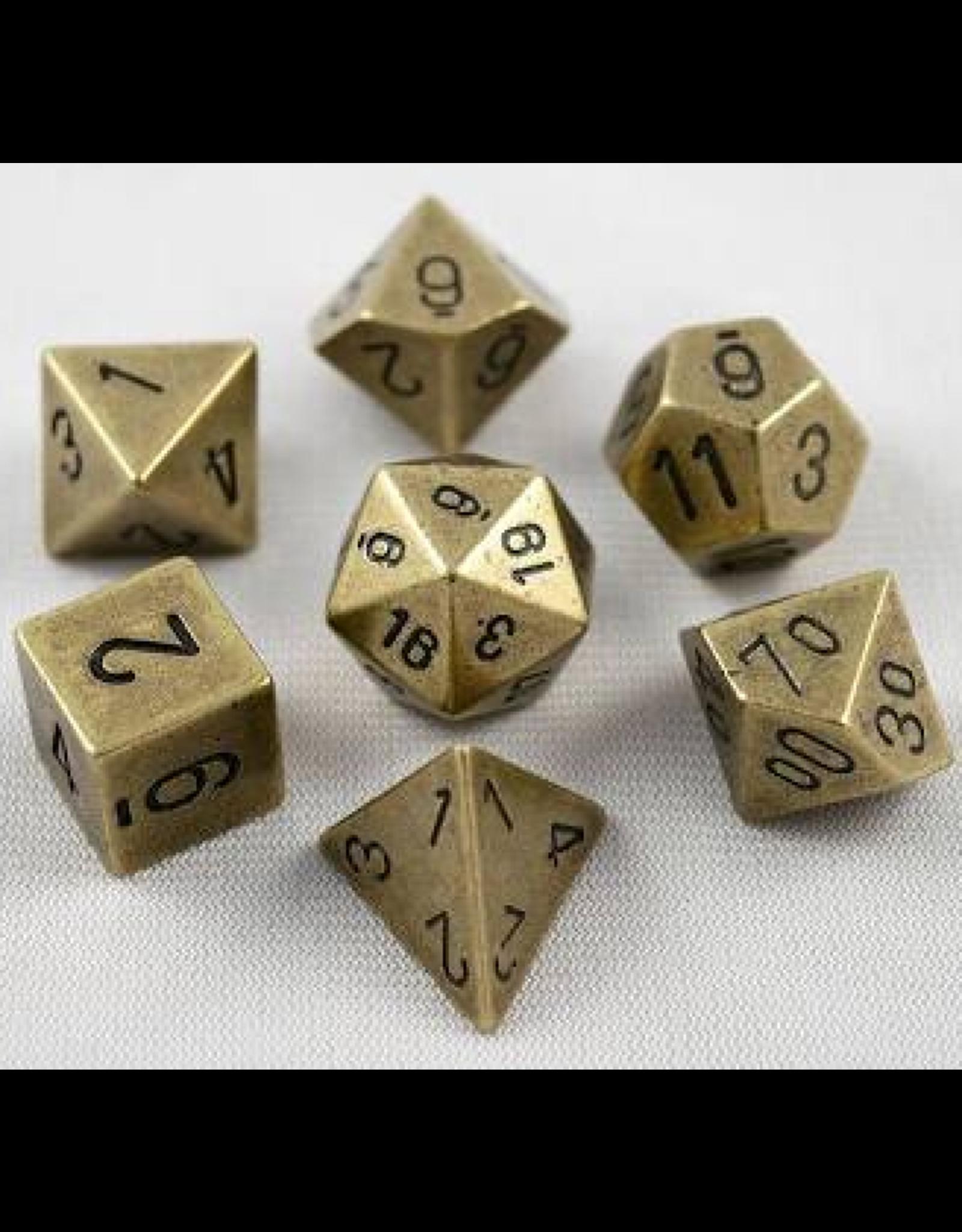 Dice 7-set metal: Old Brass
