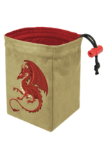 Dice Fantasy Red Dragon Embroidered Dice Bag