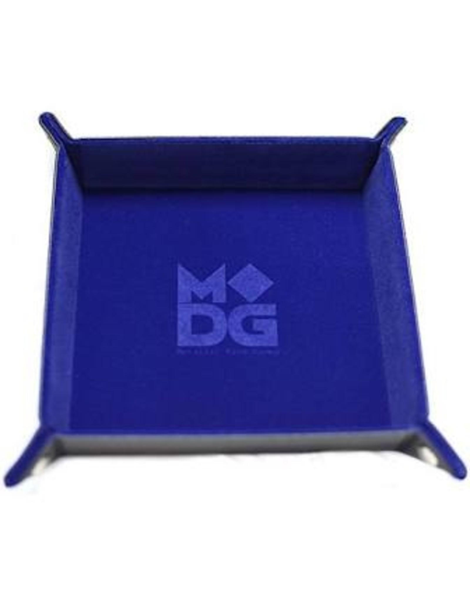 Dice Velvet Folding Dice Tray: 10x10 Blue