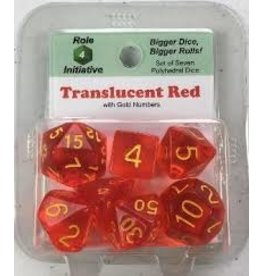 Dice Polyhedral Dice: Translucent Red with Gold - Set of 7