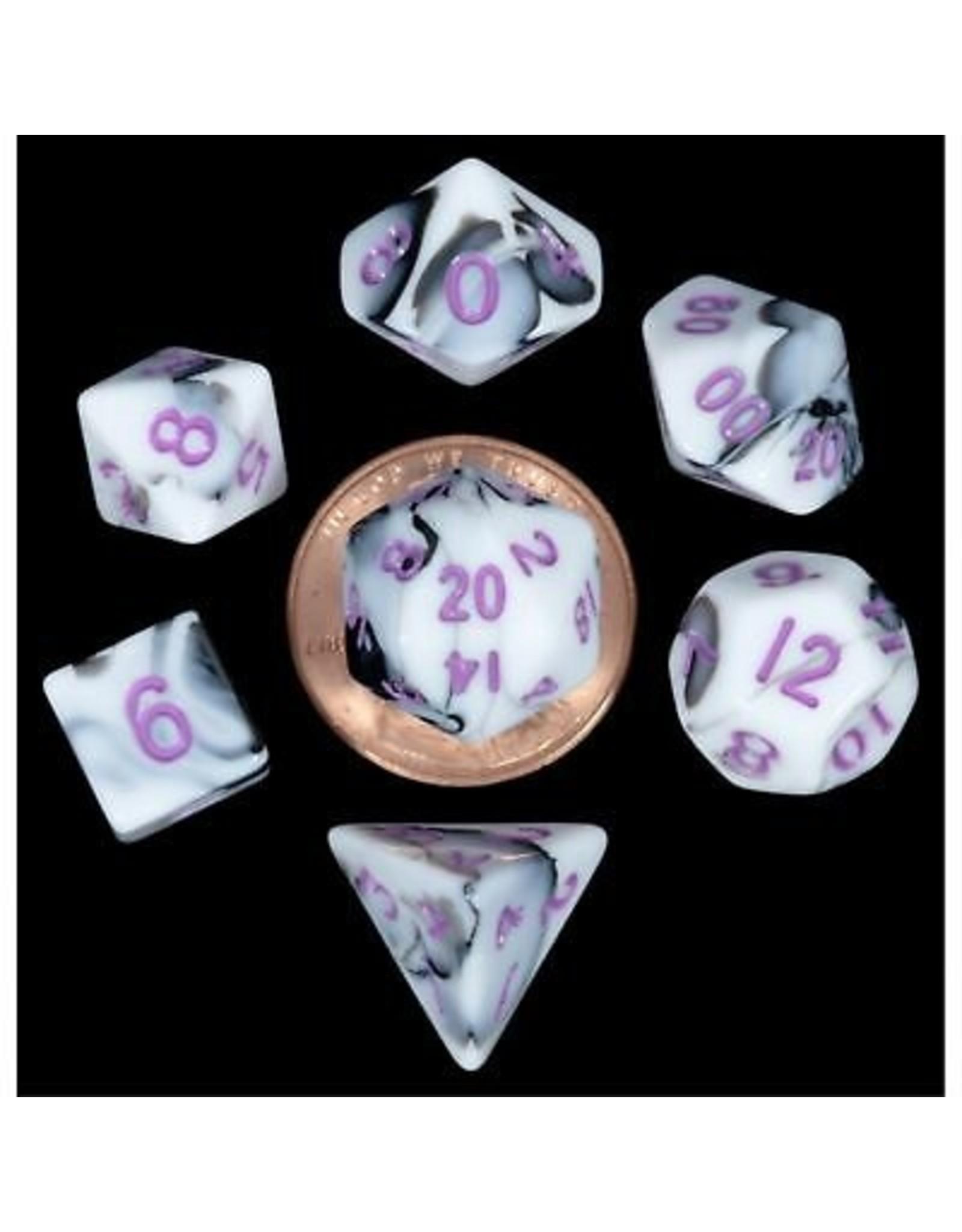 Dice 7-Set: Mini: Marble with Purple