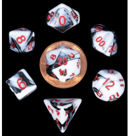 Dice 7-Set: Mini: Marble with Red