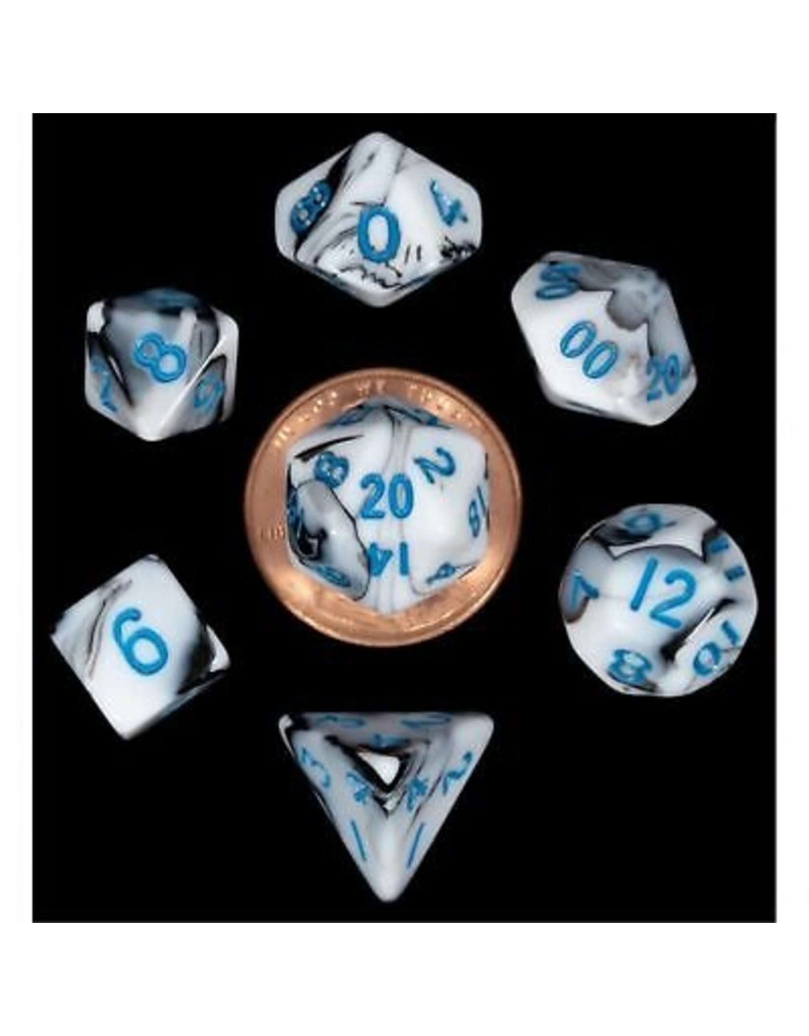 Metallic Dice Games 7-Set: Mini: Marble with Blue