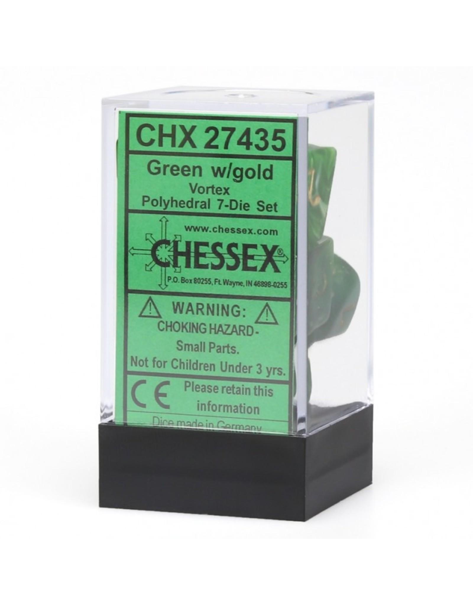 Chessex 7-Set Polyhedral Vortex Dice - Green/Gold