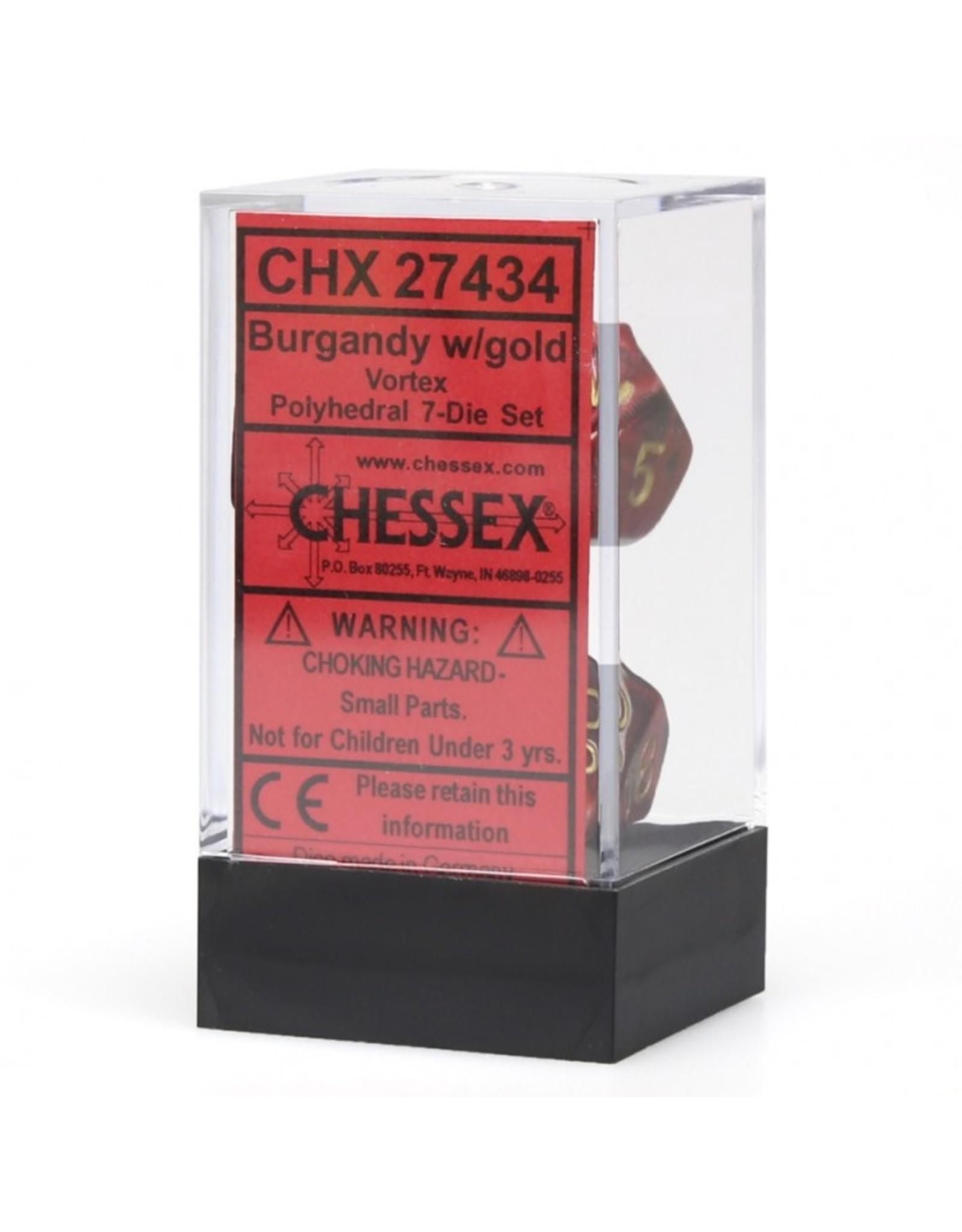 Chessex 7-Set Polyhedral Vortex Dice - Burgundy/Gold