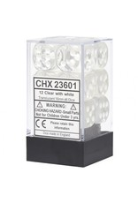 Chessex D6 Cube 16mmTR Clear White (12)